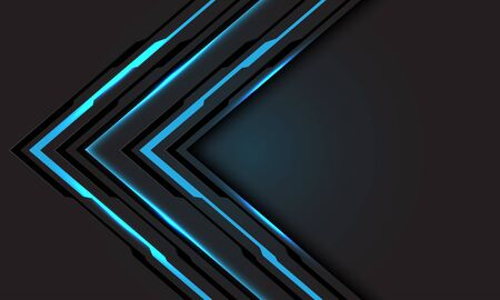 Abstract blue line light cyber arrow direction on dark grey with blank space design modern futuristic technology background vector illustration.