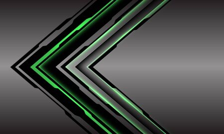 Abstract green line light cyber arrow direction on grey metallic with blank space design modern futuristic technology background vector illustration.