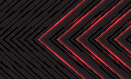 Abstract black line red light cyber arrow direction on dark grey with blank space design modern futuristic technology background vector illustration.