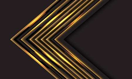 Abstract gold line light cyber arrow direction on dark grey with blank space design modern futuristic luxury technology background vector illustration. 向量圖像