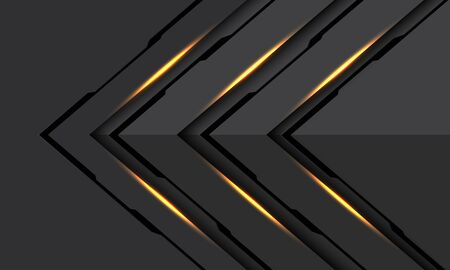 Abstract gold light black line cyber arrow direction on dark grey metallic design modern futuristic technology background vector illustration.