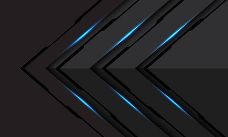 Abstract blue light black line cyber arrow direction on dark grey metallic design modern futuristic technology background vector illustration.