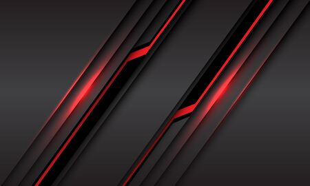 Abstract red line light black cyber slash on grey metallic design modern futuristic technology background vector illustration.