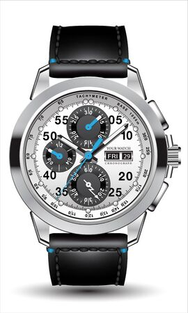 Realistic clock watch chronograph steel silver grey blue arrow black leather number strap isolated design luxury for men on white background vector illustration.