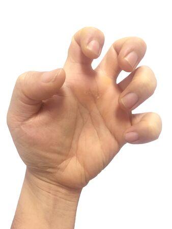 Hand men action on white background.