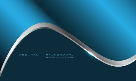 Abstract blue metallic silver line curve with blank space for text design modern luxury futuristic background vector illustration.