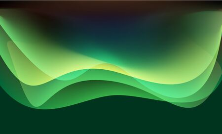 Abstract green tone wave curve layer background texture vector illustration.