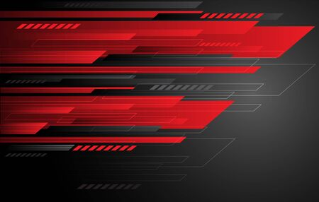 Abstract technology red grey speed stripes on dark gradient. Modern futuristic background design vector illustration. 向量圖像