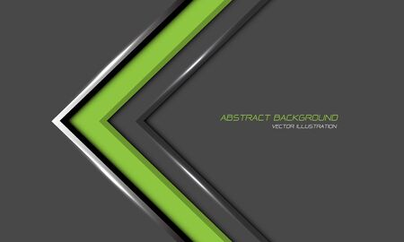 Abstract green arrow silver line direction on grey blank space with text design modern futuristic background vector illustration. 向量圖像