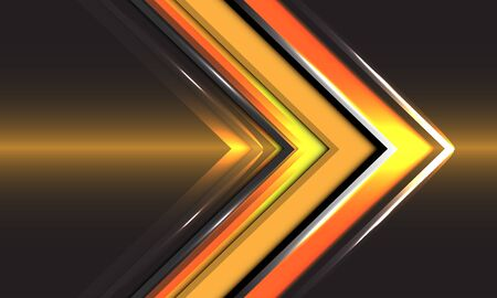 Abstract technology yellow arrow direction speed gold light design modern futuristic background vector illustration.