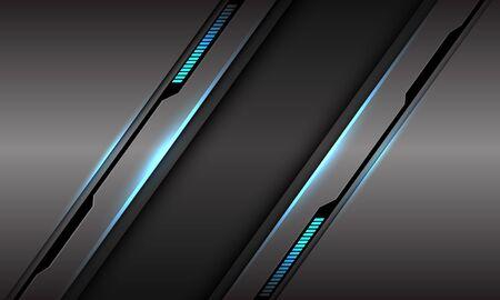 Abstract grey metallic black cyber line blue light digital technology futuristic modern background vector illustration. 向量圖像