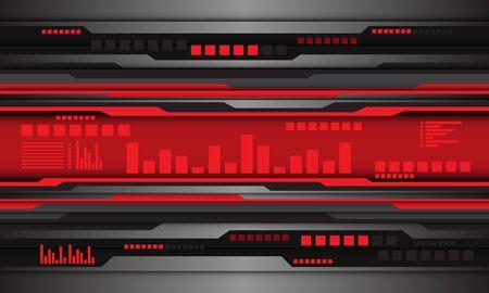 Abstract grey metallic black circuit red digital wave design modern futuristic technology background vector illustration.