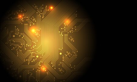 Technology gold circuit mainboard computer with blank space futuristic background vector illustration. 向量圖像