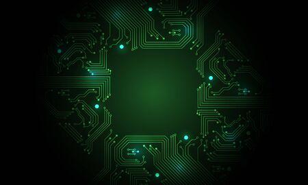 Technology green circuit mainboard computer futuristic background vector illustration.