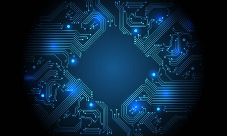 Technology blue circuit mainboard computer futuristic background vector illustration.