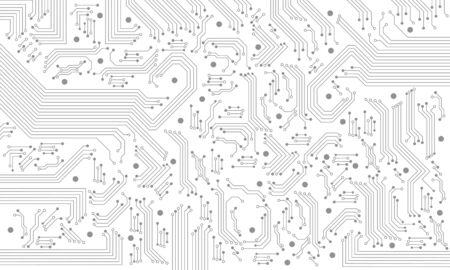 Abstract grey circuit pattern on white technology futuristic background.