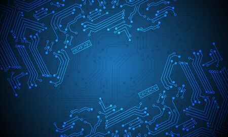 Abstract technology blue circuit mainboard computer futuristic background vector illustration. 向量圖像