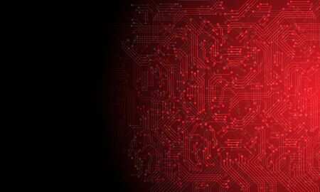 Abstract technology red circuit mainboard computer cyber with black blank space futuristic background vector illustration.