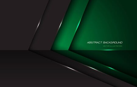 Abstract green grey metallic glossy arrow direction with blank space and text design modern futuristic background vector illustration.
