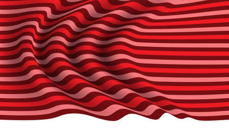 Realistic red tone line fabric wave on white background vector illustration.