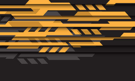 Abstract yellow grey geometric futuristic cyber on black design modern technology background vector illustration.