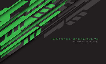 Abstract green grey geometric futuristic cyber on black design modern technology background vector illustration.