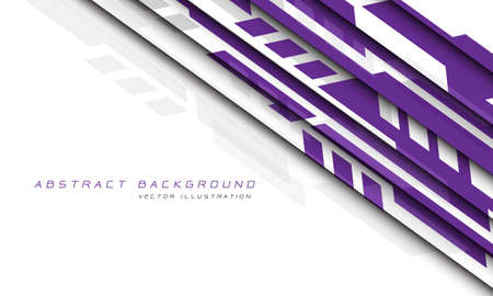 Abstract purple grey geometric futuristic cyber on white design modern technology background vector illustration.