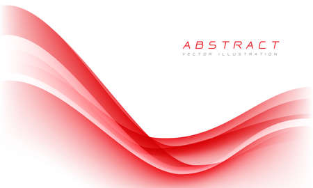 Abstract red wave curve on white blank space luxury design modern background vector illustration.
