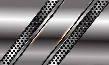 Abstract silver black line slash on circle mesh design modern luxury futuristic background vector illustration.