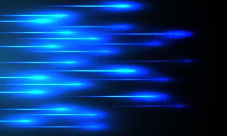 Blue light beam speed technology futuristic on black background vector illustration.
