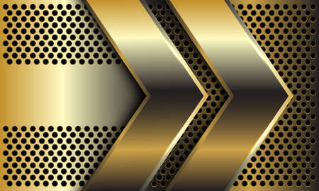 Abstract double golden arrow direction on circle mesh pattern design modern luxury futuristic background vector illustration.
