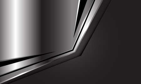 Abstract silver plate black triangle arrow on dark grey blank space design modern luxury futuristic background vector illustration.