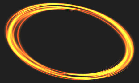 Abstract fire ring motion on black with blank space background vector illustration. Ilustração Vetorial