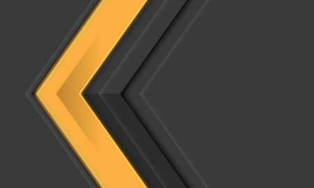 Abstract yellow arrow metallic direction on grey with blank space design modern futuristic background vector illustration.