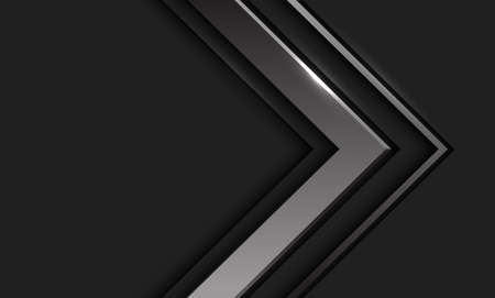 Abstract silver arrow direction in dark grey with blank space design modern futuristic background vector illustration.