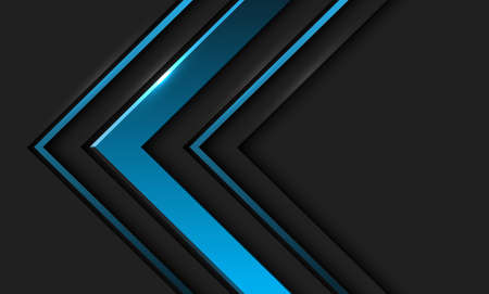 Abstract blue metallic arrow direction in dark grey with blank space design modern futuristic background vector illustration. 向量圖像