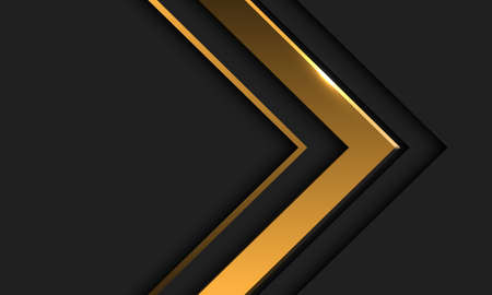 Abstract gold arrow direction in dark grey with blank space design modern futuristic background vector illustration.