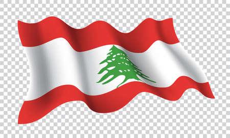 Lebanon flag wave 3D vector on checkered pattern background illustration. 向量圖像