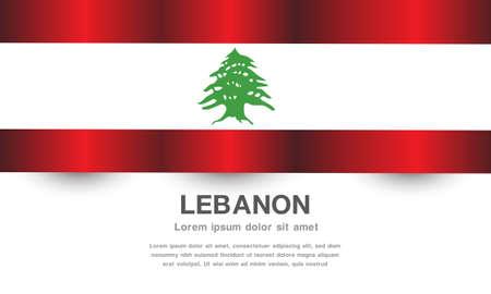 Lebanon flag banner with text on white background vector illustration. 向量圖像