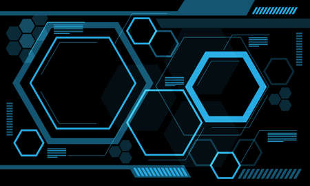Abstract monitor blue line hexagon technology futuristic data on black design modern background vector illustration.