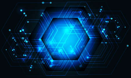 Abstract blue hexagon line circuit power data connect technology futuristic on dark design background vector illustration.