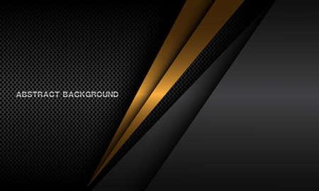 Abstract gold triangle shadow on dark metallic circle mesh pattern design modern luxury futuristic background vector illustration.