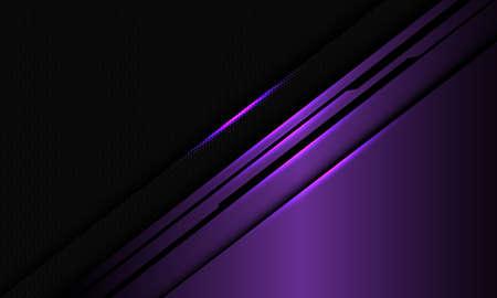 Abstract violet metallic glossy black line circuit on dark hexagon mesh design modern luxury technology background vector illustration.