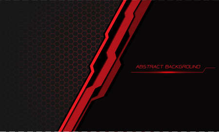 Abstract red black cyber slash on hexagon mesh with grey blank space design modern futuristic background vector illustration.