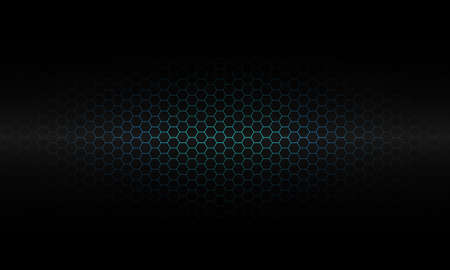 Abstract blue hexagon mesh pattern light on black luxury technology background texture vector illustration. Illustration