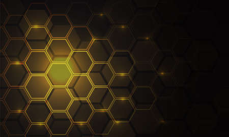 Abstract gold hexagon mesh pattern light power technology on black with blank space design modern futuristic background vector illustration.