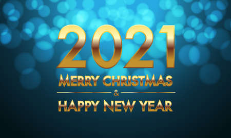 Merry Christmas & Happy New Year 2021 gold number and text on blue bokeh background design for holiday festival celebration countdown vector illustration. Illustration