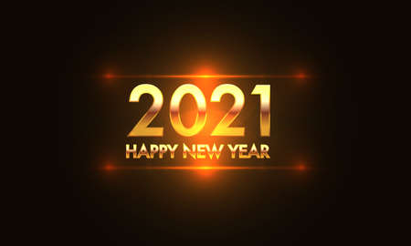 Happy New Year 2021 gold number and text on orange light effect black background design for holiday festival celebration count down vector illustration.
