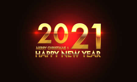 Merry Christmas & Happy New Year 2021 gold number and text on red light effect black background design for holiday festival celebration count down vector illustration.