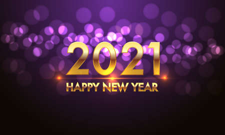 Happy New Year 2021 gold number and text on violet bokeh light effect black background design for holiday countdown festival celebration vector illustration. 向量圖像
